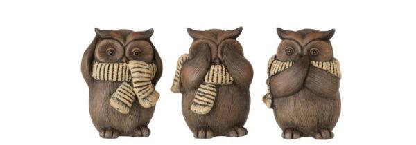 Figurines chouettes en céramique