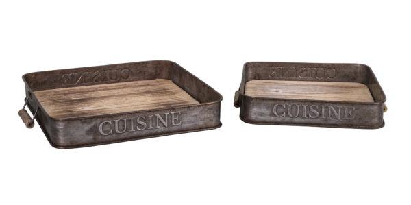 Plateau bois et métal «Cuisine»