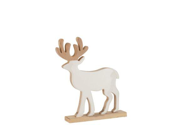 Cerf en bois laqué blanc