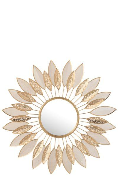 Miroir feuilles en métal doré