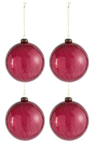 Boule de Noël verre framboise