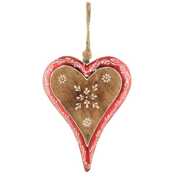 Coeur en bois naturel et rouge
