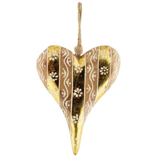 Coeur en bois naturel et or