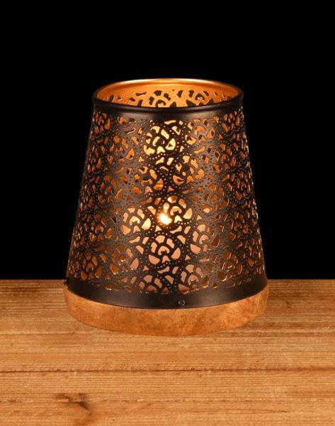 Photophore métal socle en bois