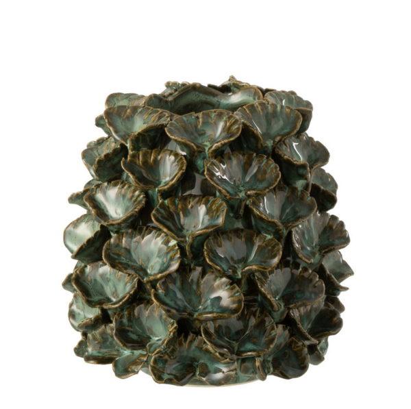 Vase cache-pot «feuilles» vert
