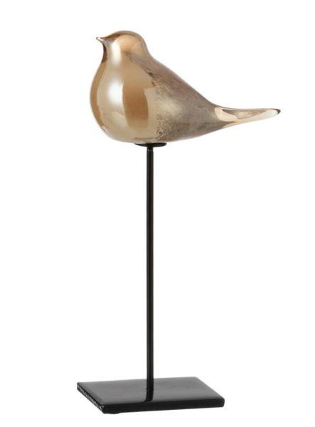 Oiseau en verre sur socle