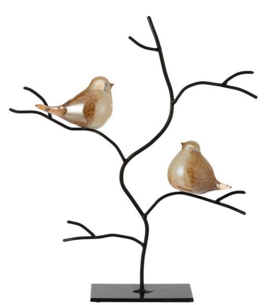 Oiseaux en verre sur branche