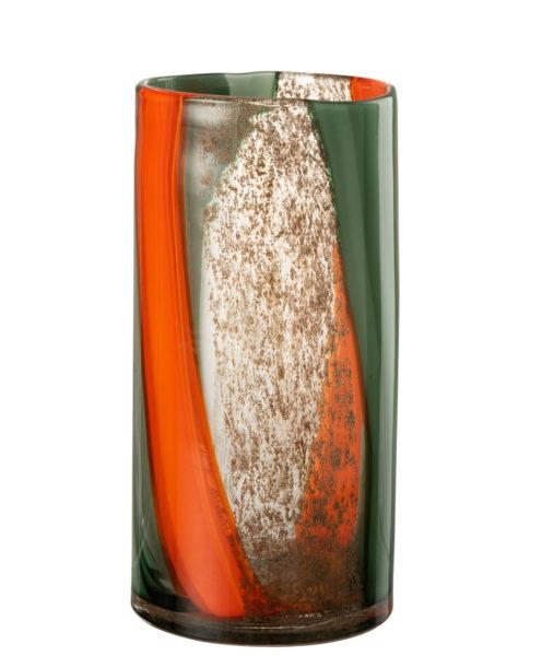 Vase en verre orange et vert